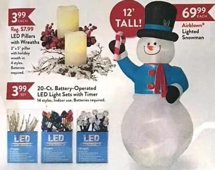 Christmas Tree Shops Black Friday: LED Pillars with Wreaths for $3.99