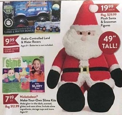Christmas Tree Shops Black Friday: Plush Santa and Snowman Figures for $19.99