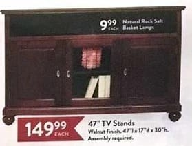 "Christmas Tree Shops Black Friday: 47"" TV Stands for $149.99"