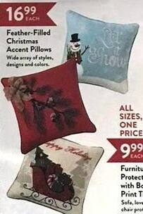 Christmas Tree Shops Black Friday: Feather-Filled Christmas Accent Pillows for $16.99