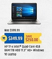 "TigerDirect Black Friday: HP 17-x 17.3"" Laptop: Intel Quad-Core, 4GB, 1TB HDD, HD+, Win 10 for $349.99"