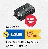 TigerDirect Black Friday: Cyberpower Standby Series 425VA 8 Outlet UPS for $29.99