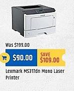 TigerDirect Black Friday: Lexmark MS317dn Mono Laser Printer for $90.00
