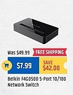 TigerDirect Black Friday: Belkin 5-Port 10/100 Network Switch for $7.99