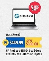 "TigerDirect Black Friday: HP Probook 455 15.6"" Laptop: Quad-Core, 8GB, 1TB HDD for $449.99"