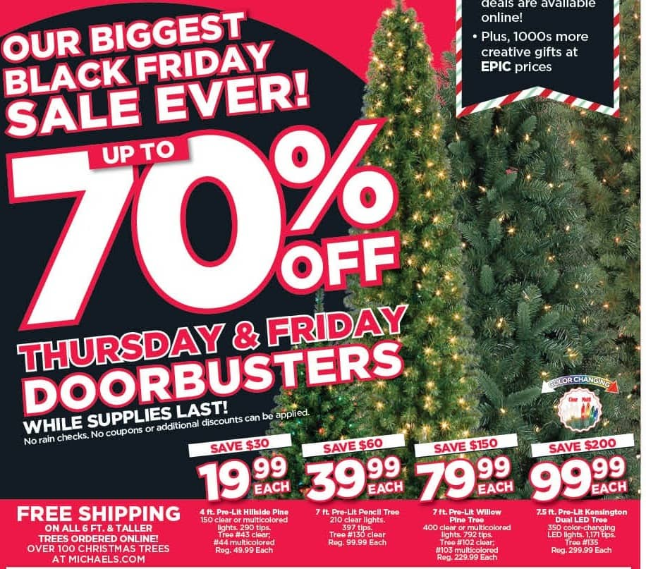 Michaels Black Friday: 7-ft. Pre-Lit Willow Pine Tree for $79.99