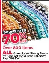 Michaels Black Friday: All Green Label Strung Beads - 70% Off