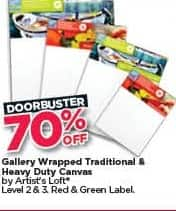 Michaels Black Friday: Gallery Wrapped Traditional and Heavy Duty Canvas - 70% Off