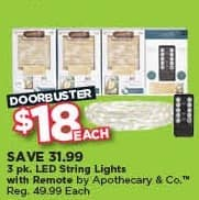 Michaels Black Friday: 3-pk. Apothecary & Co. LED String Lights with Remote, Each for $18.00