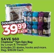 Michaels Black Friday: Loops & Threads Charisma Yarn Epic Bag for $39.99