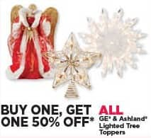 Michaels Black Friday: All GE and Ashland Lighted Tree Toppers - B1G1 50% Off