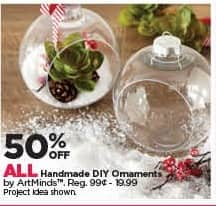 Michaels Black Friday: All Handmade DIY Ornaments - 50% Off
