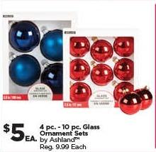 Michaels Black Friday: Ashland 4-pc. - 10-pc. Glass Ornament Sets for $5.00