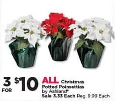 Michaels Black Friday: (3) All Ashland Christmas Potted Poinsettias for $10.00