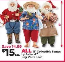 "Michaels Black Friday: All Ashland 11"" Collectible Santas for $15.00"