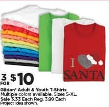 Michaels Black Friday: (3) Gildan Adult and Kids' T-Shirts for $10.00