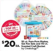 Michaels Black Friday: Creatology 50-ct. Pom-Pom Marker, Gel Pen Sets and 110-ct. Scented Craft Bucket, Each for $20.00