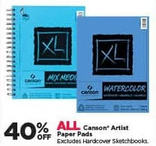 Michaels Black Friday: All Canson Artist Paper Pads - 40% Off