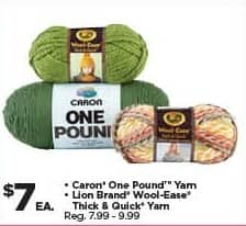 Michaels Black Friday: Caron One Pound Yarn or Lion Brand Wool-Ease Thick & Quick Yarn for $7.00