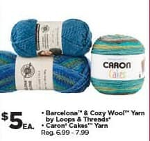 Michaels Black Friday: Barcelona & Cozy Wool Yarn or Caron