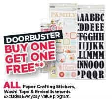 Michaels Black Friday: All Paper Crafting Stickers, Washi Tape and Embellishments - B1G1 Free