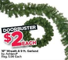 """Michaels Black Friday: Ashland 18"""" Wreath and 9-ft. Garland, Each for $2.00"""