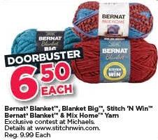Michaels Black Friday: Bernat Blanket, Blanket Big, Stitch 'N Win