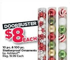 Michaels Black Friday: Ashland 10-pc. and 100-pc. Shatterproof Ornaments for $8.00