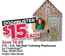 Michaels Black Friday: Creatology 3-ft. - 5-ft. Tall Kids Coloring Playhouse for $15.00