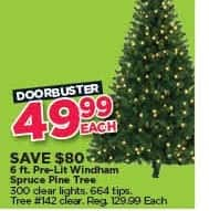 Michaels Black Friday: 6-ft. Pre-Lit Windham Spruce Pine Tree for $49.99