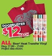 Michaels Black Friday: All Siser Heat Transfer Vinyl for $12.00