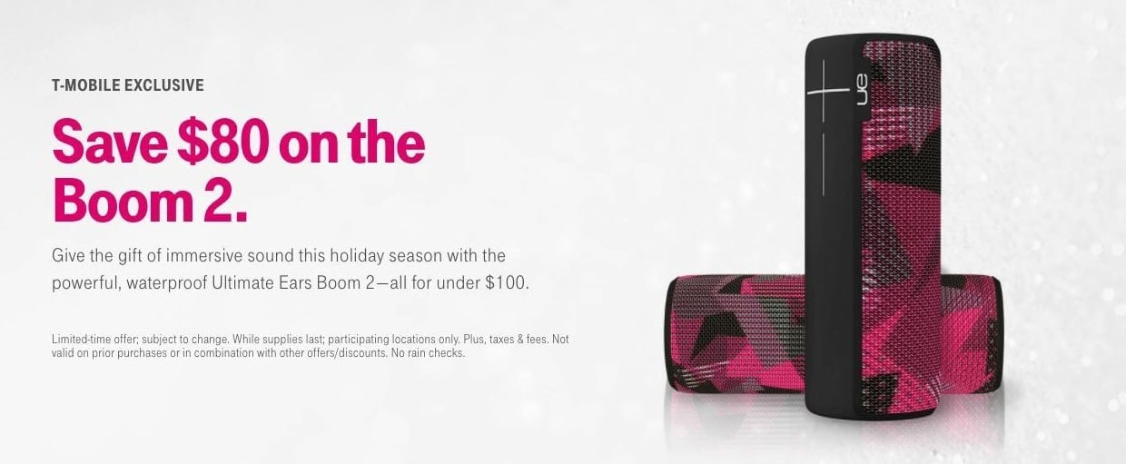T-Mobile Black Friday: Ultimate Ears Boom 2 - $80 Off
