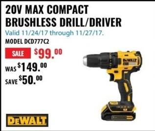 ACME Tools Black Friday: DeWalt DCD77C2 20V Max Compact Brushless Drill/Driver for $99.00