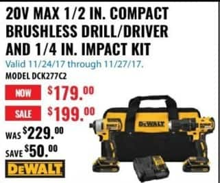 ACME Tools Black Friday: DeWalt DCK277C2 20V Max 1/2-in. Compact Brushless Drill/Driver and 1/4-in. Impact Kit for $179.00