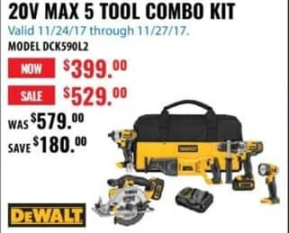 ACME Tools Black Friday: DeWalt DCK590L2 20V Max 5 Tool Combo Kit for $399.00