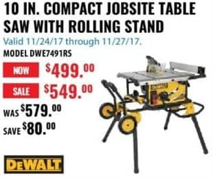 ACME Tools Black Friday: DeWalt 10-in. Compact Jobsite Table saw with Rolling Stand for $499.00