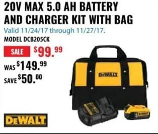 ACME Tools Black Friday: DeWalt DCB205K 20V Max 5.0 AH Battery and Charger Kit with Bag for $99.99