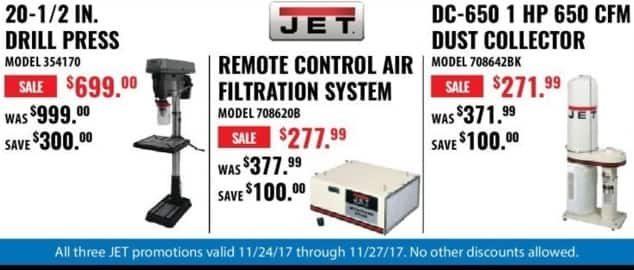 ACME Tools Black Friday: JET DC-650 1 HP 650 CFM Dust Collector for $271.99