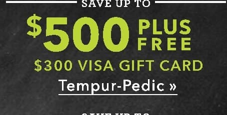 US Mattress Black Friday: Tempur-Pedic Mattresses + $300 Visa Gift Card - Up to $500 Off