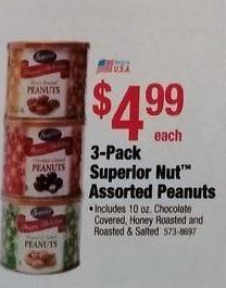 Menards Black Friday: 3-pk. Superior Nut Assorted Peanuts for $4.99