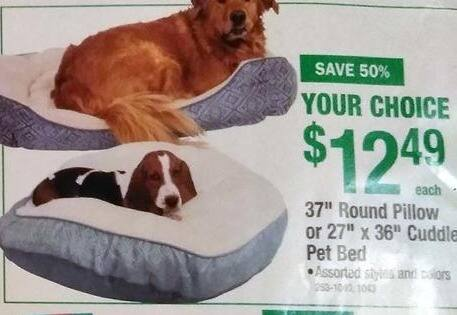 "Menards Black Friday: 37"" Round Pillow or 27"" x 36"" Cuddle Pet Bed for $12.49"