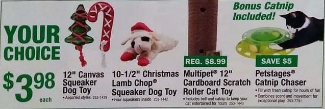 "Menards Black Friday: Select Dog and Cat Toys: 12"" Canvas Squeaker Dog Toy, Petstages Catnip Chaser and More for $3.98"
