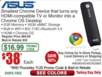 Frys Black Friday: Asus Chromebit for $38.00 after $30.00 rebate
