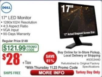 "Frys Black Friday: Dell 17"" LED Monitor - Refurbished for $28.00"