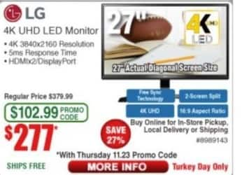 "Frys Black Friday: 27"" LG 4K UHD LED Monitor for $277.00"