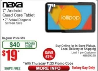 """Frys Black Friday: 7"""" Naxa Android Quad Core Tablet for $19.00"""