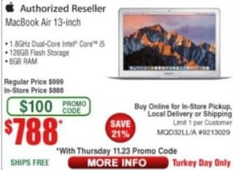 """Frys Black Friday: 13"""" Macbook Air: i5, 8GB, 128GB Flash Storage for $788.00"""