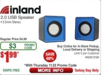 Frys Black Friday: Inland 2.0 USB Speaker for $1.99