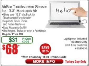 "Frys Black Friday: AirBar Touchscreen Sensor for 13.3"" Macbook Air for $68.00"