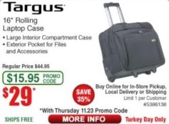 "Frys Black Friday: Targus 16"" Rolling Laptop Case for $29.00"